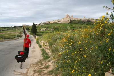 Counties evangelist Clive Cornish walks with his cross to Medina - the Silent City -during a project called From Jerusalem to Rome in the Footsteps of the Apostle Paul.