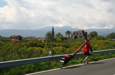 Counties evangelist Clive Cornish walks with his cross along the Sicilian coast - during a project called From Jerusalem to Rome in the Footsteps of the Apostle Paul.