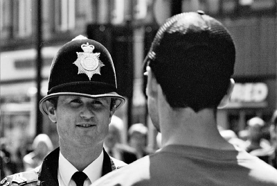 Counties evangelist Clive Cornish discusses Christianity and his cross walk with a local policeman