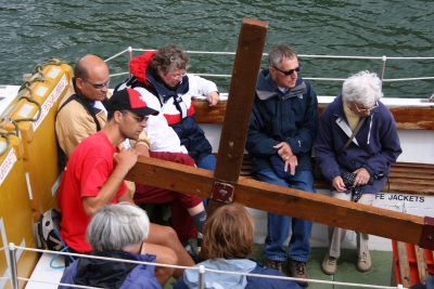 Counties evangelist crosses takes a ferry journey in Cornwell - it is amazing how passengers ignore the cross