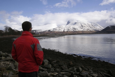 View towards the North Face of Ben Nevis - Clive viewing the mountain before climbing the snowy peak with his cross