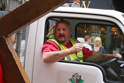 A lorry driver in Exeter recognises Clive and shouts to him - unbelieveably he had driven past Clive in the North of Scotland while on holiday only a few weeks before