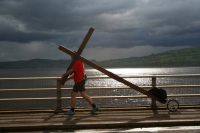 Counties evangelist Clive Cornish encounters stormy weather in Scotland while walking from John O'Groats to Land's End with his cross