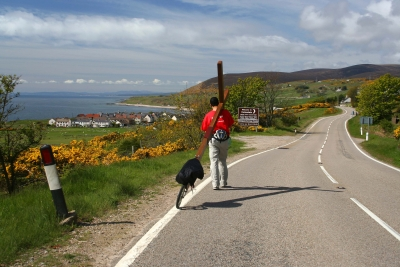 Counties evangelist Clive Cornish walks down the North East Coast of Scotland - a bright sunny day while walking from John O'Groats to Land's End