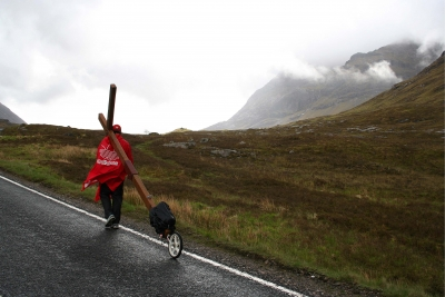 Counties evangelist Clive Cornish walks with a cross through the Brecon Beacons - Clive takes church to the people