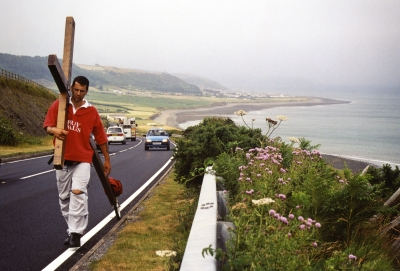 Counties evangelist Clive Cornish walks with his cross along the beautiful West Wales coast - south of Aberystwyth