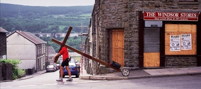 Counties evangelist Clive Cornish walks his cross through the Valleys of South Wales - a deprived area near Aberfan
